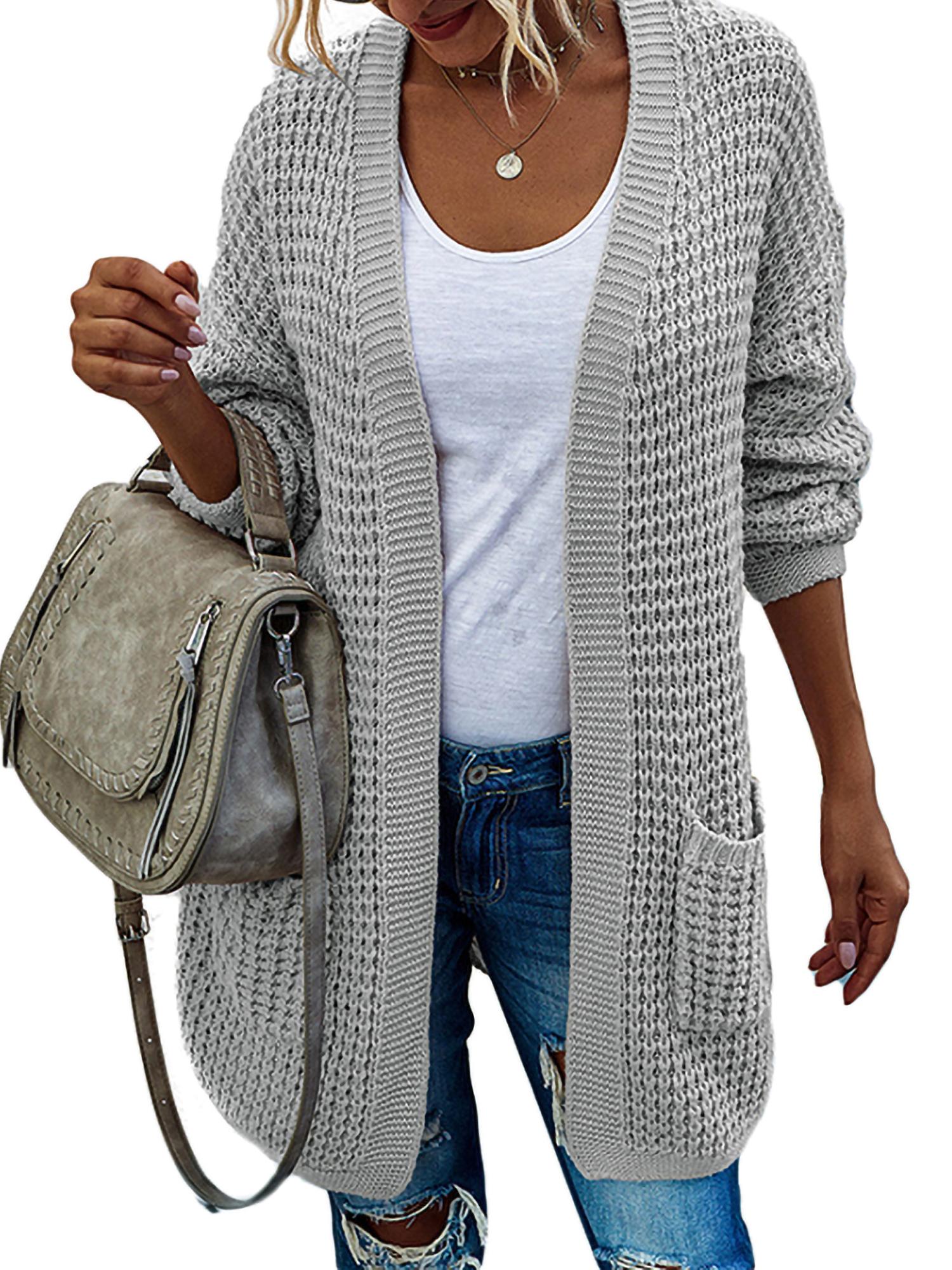 Women Winter Colorblock Open Front Cardigan Cable Knit Long Sleeve Outwear Coat