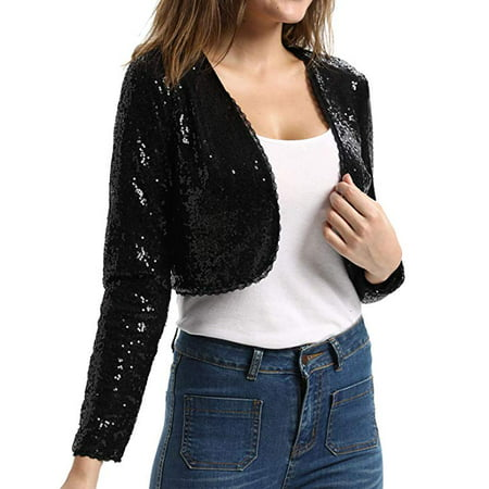 Womens Sequin Jacket Open Front Glitter Cropped Bolero Shrug