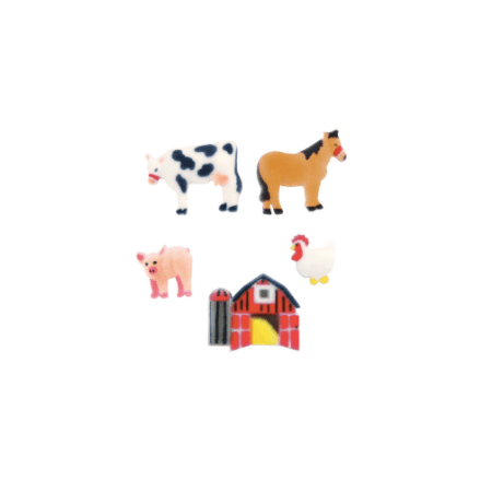 Set of 12 Farm Animals 1inch - 1 3/4inch Edible Sugar Cake & Cupcake Decoration Toppers for $<!---->