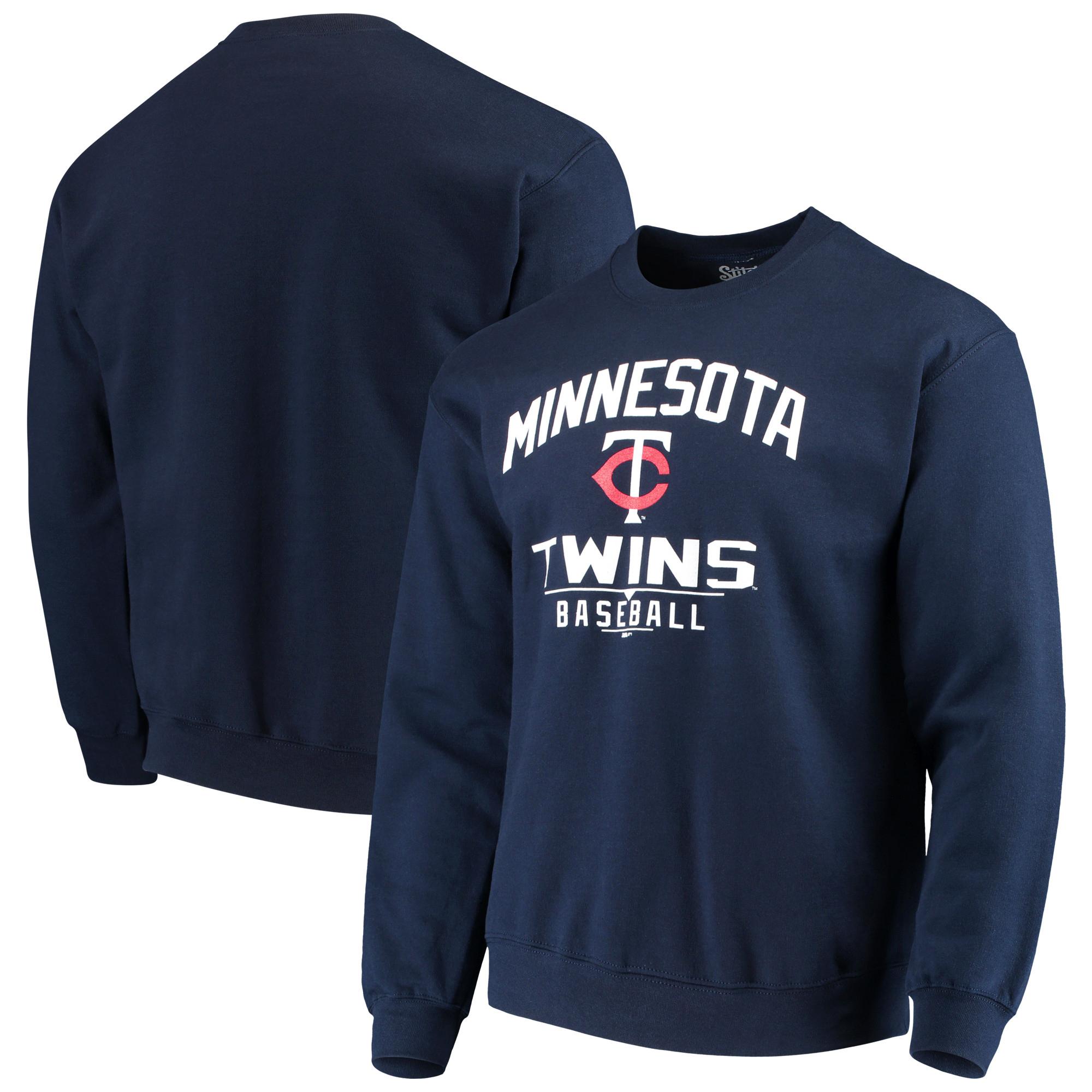 Minnesota Twins Stitches Holiday Pullover Crew Sweatshirt - Navy
