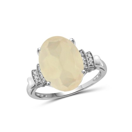 5-1/2 Carat T.G.W. Moonstone and White Diamond Accent Sterling Silver Ring