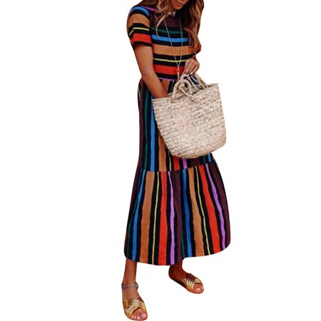 Women Summer Boho Long Maxi Dress Colorful Stripes Evening Cocktail Party Beach Short Sleeve Dresses Sundress - Striped Maxi Dress