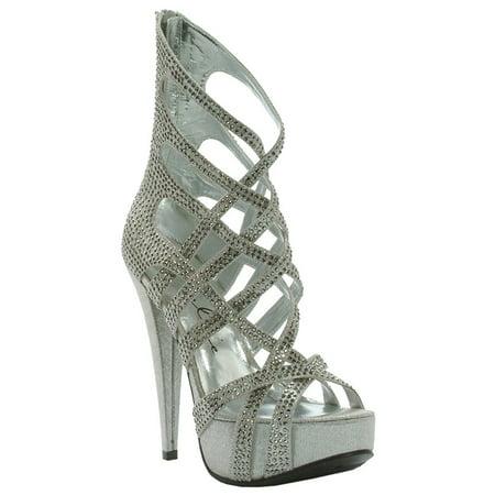 - Womens 5 Inch Heels Sexy Ankle Booties Criss Cross Strappy Sandals Zipper Heel