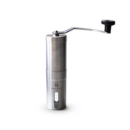 Brillante Manual Coffee Grinder - Superior Burr Design for Consistently Brewing Espresso, Pour Over, French Press & Turkish Coffee - Hand Crank Mill with Adjustable Ceramic Conical Burr