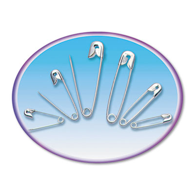 Charles Leonard Co. Safety Pins, Nickel-Plated, Steel, 50/Pack (Set of 4)