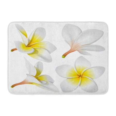GODPOK White Hawaiian Frangipani Plumeria Hawaii Bali Indonesia Shri Lanka Tropical Necklace Flowers Yellow Lei Rug Doormat Bath Mat 23.6x15.7 inch - Leis Flowers