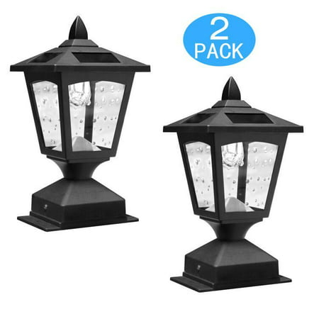 Pack of 2 Kanstar Solar Powered Post Cap Light for 4 x 4 Nominal Wood Posts Pathway,Deck ()
