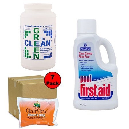 Pool Algae Removing Kit 30K Gallon w/Green 2 Clean & Pool First Aid CS1060 03122