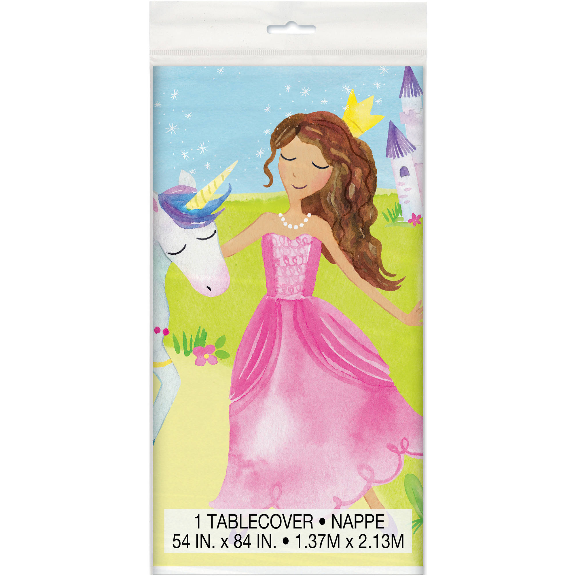"Plastic Magical Princess Table Cover, 84"" x 54"", 1ct"