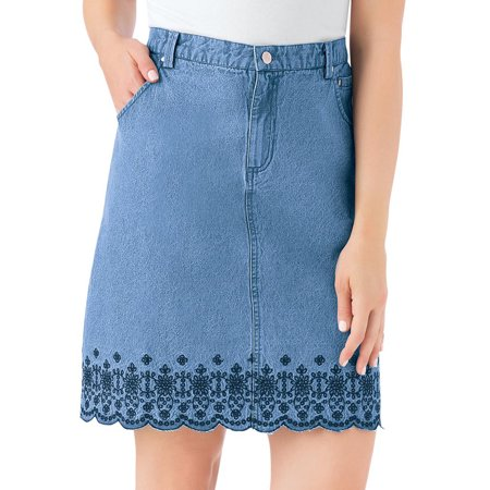Women's Trendy Embroidered Floral Border Scalloped Denim Skirt with Elastic Waistband, X-Large, Denim Blue (Butterfly Embroidered Skirt)