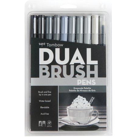 Tombow Dual Brush Pen Art Markers, 10-Pack, Grayscale