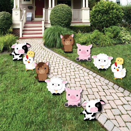 Farm Animals - Barnyard Animal Lawn Decorations - Outdoor Baby Shower or Birthday Party Yard Decorations - 10 Piece