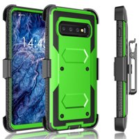 Galaxy S10 / S10 Plus / S10E Case, Samsung Galaxy S10 Holster Clip, Tekcoo [Tshell] Shock Absorbing [Green] Secure Swivel Locking Belt Defender Heavy Full Body Kickstand Carrying Tank Armor Cases