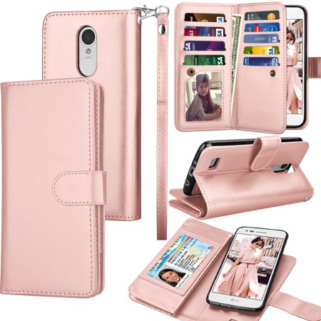 Razr V3 Phone Covers (LG LV3 Wallet Case, LG V3 PU Leather Case, LG LV3 Wallet Cover, Tekcoo 9 Credit Card Slots Carrying Folio Flip Cover [Detachable Magnetic Case] & Kickstand - Rose Gold)