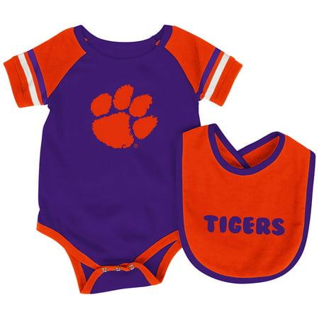 Clemson Tigers Colosseum Newborn & Infant Roll-Out Bodysuit & Bib Set - Purple/Orange