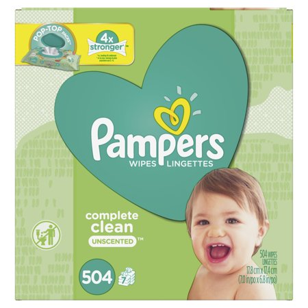 Pampers Baby Wipes Complete Clean Unscented 7X Pop-Top Packs 504 Count ()