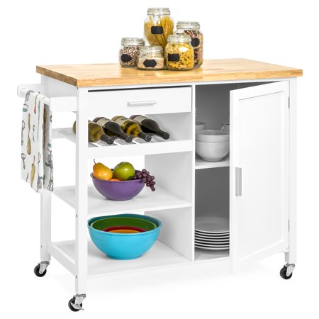 Best Choice Products Portable Kitchen Island Cocktail Cart for Serving, Storage, Decor with Wood Top, Wine Shelf, Cabinet, Drawer, Towel Rack, White Dining Room Kitchen Serving Cart