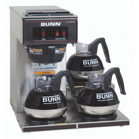 Bunn Commercial Iced Tea Maker - BUNN VP17-3 SS Pourover Commercial Coffee Brewer with Three Lower Warmers - Stainless Steel