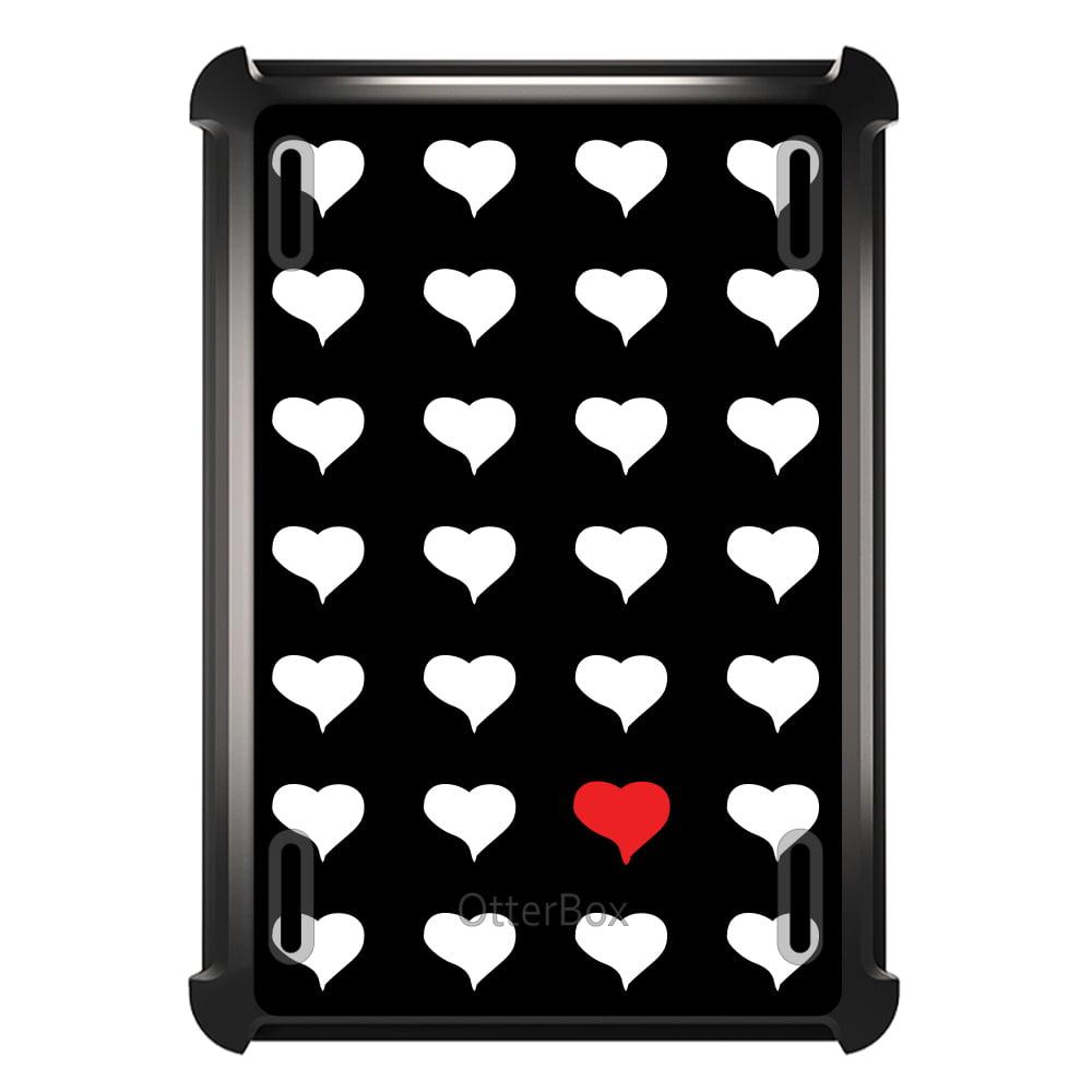 CUSTOM Black OtterBox Defender Series Case for Apple iPad Mini 1 / 2 / 3 - Red White Black Repeating Hearts