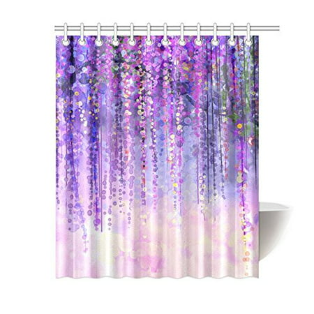 BPBOP Wisteria Flowers Tree Shower Curtain Purple Violet Floral Polyester Fabric Bathroom Sets