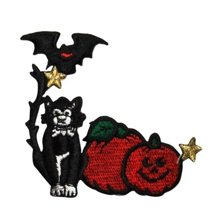 Halloween Pumpkin Bat (ID 0813 Black Cat Pumpkins and Bat Patch Halloween Embroidered Iron On)
