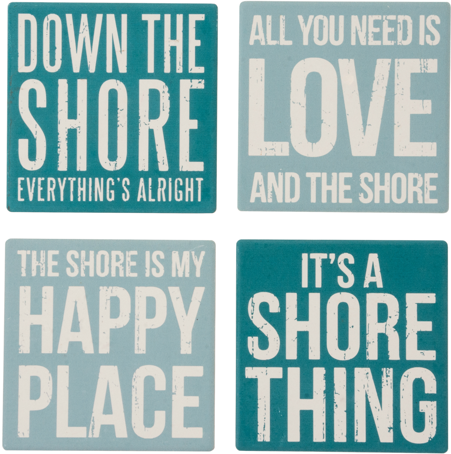 Down By Shore Happy Place Stone Drink Absorbent Coasters and Holder Set