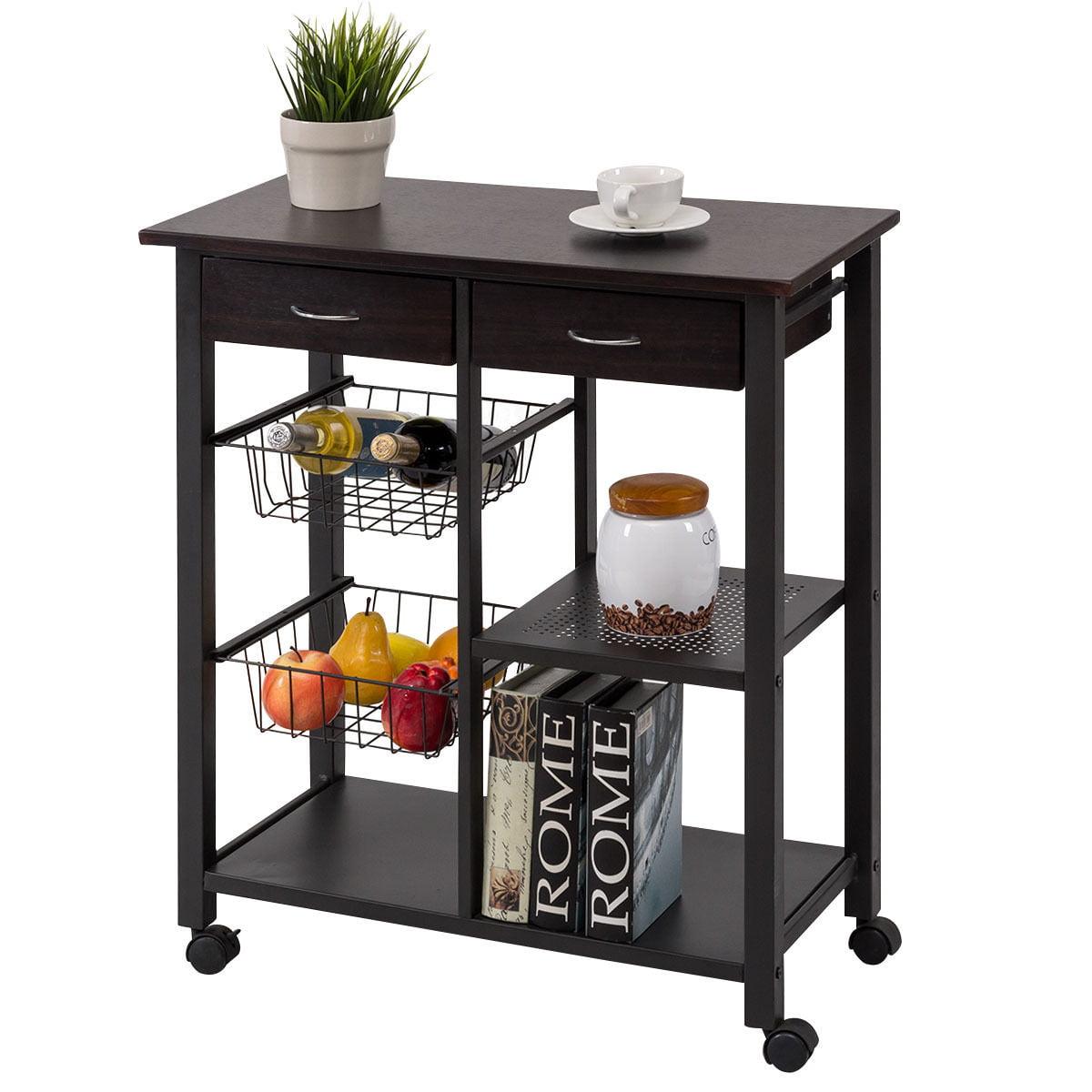 Kitchen Shelves Walmart: Costway Rolling Kitchen Trolley Cart Storage Island