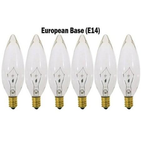 Watt Torpedo Bulb ((6 Pack) 25 Watt Clear European Base (E14) Torpedo Tip 120V Chandelier Bulbs )