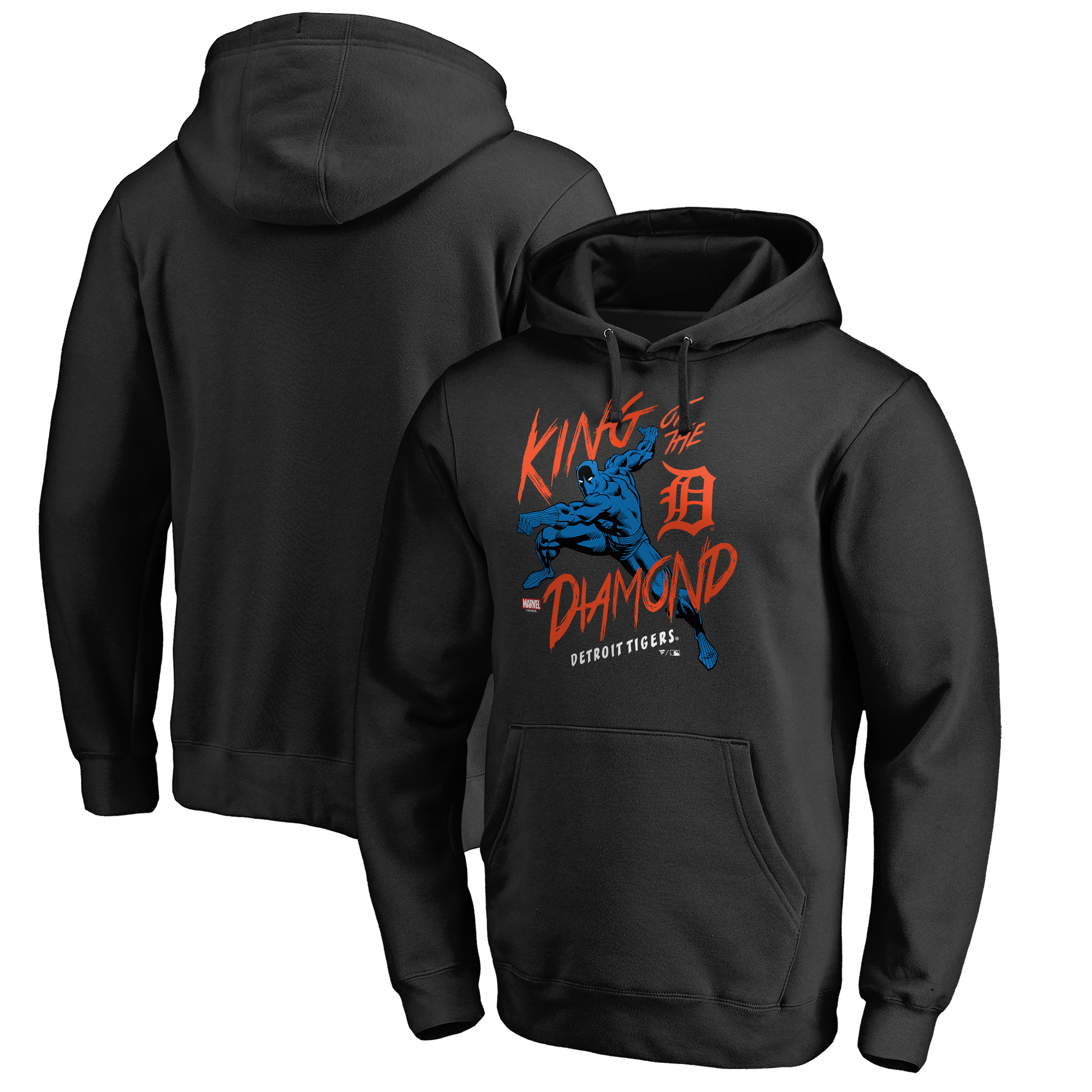 Detroit Tigers Fanatics Branded MLB Marvel Black Panther King of the Diamond Pullover Hoodie - Black