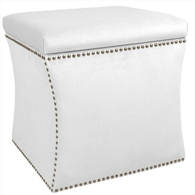 Skyline Furniture 49-6NB-PWVLVWHT Nail Button Storage Ottoman In Velvet White