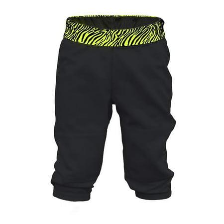 Zebra Softball Slider (Girl Zebra Waistband Softball Pant, Black & Yellow Zebra - Large)
