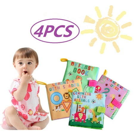 Baby Girl Alphabet - Cosyitems 4PCS Baby Soft Activity Books Set – Babies Cloth Farm Alphabet Shapes Book for Girls Boys Kids Children Touch Learning Toys 0-4 Years
