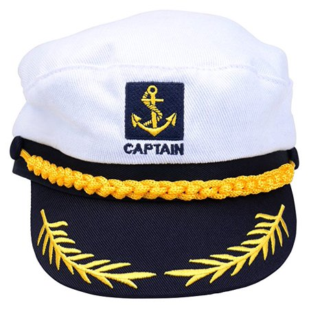 Adult Captains Hat Yacht Cap, White and Blue](Yacht Caps)