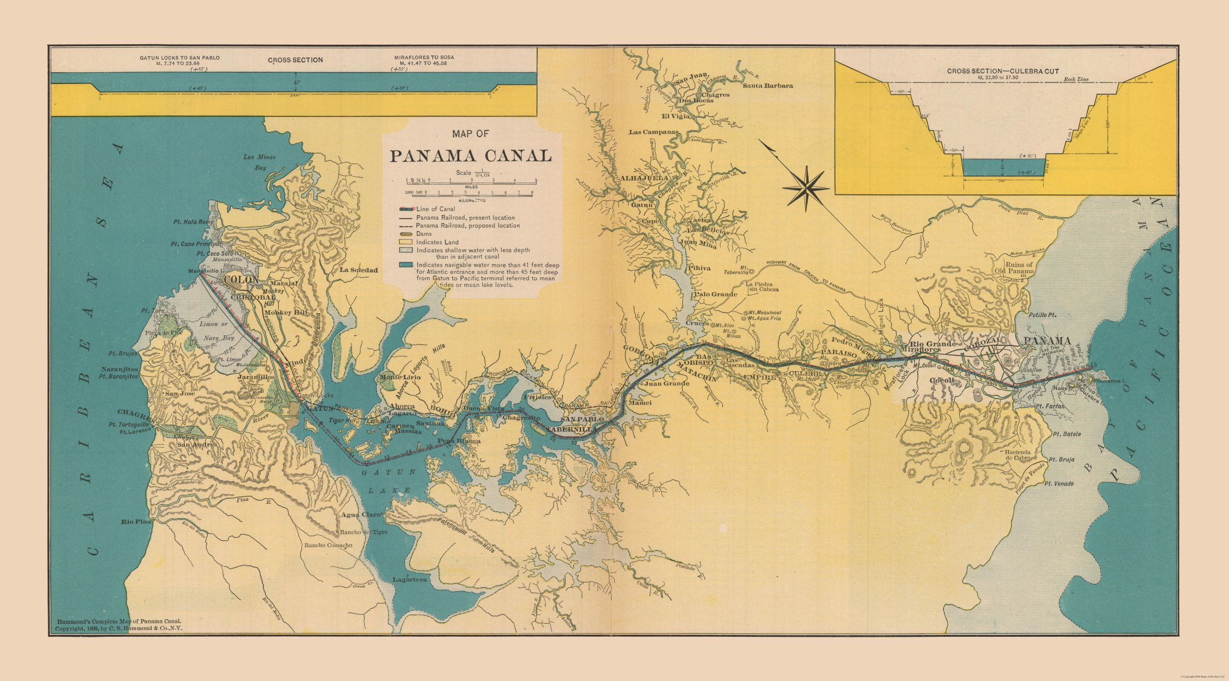 International map panama canal hammonds atlas 1910 4146 x 23 international map panama canal hammonds atlas 1910 4146 gumiabroncs Images
