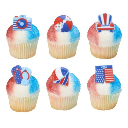 Flip Flop Cupcake - Summer Beach Chair, Snowball, Ball, Flip Flops, Cameria & Shorts Cupcake Rings - 24 Count