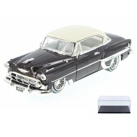 Diecast Car & Display Case Package - 1953 Chevy Bel Air Hard Top Lowrider, Bronze - Jada 98918-MJ - 1/24 Scale Diecast Model Toy Car w/Display Case 12 Car Display Case