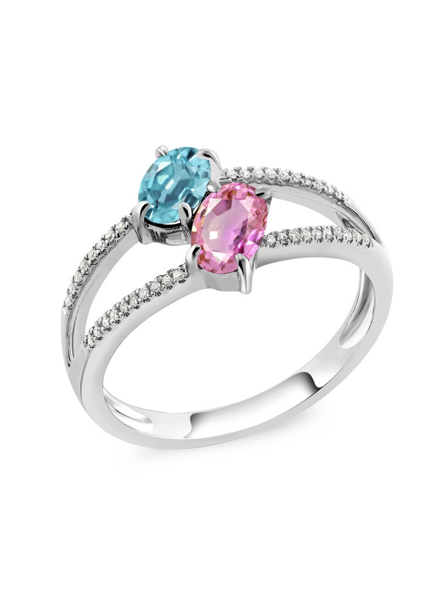 1.58 Ct Blue Zircon Pink Sapphire Diamond 10K White Gold Ring by
