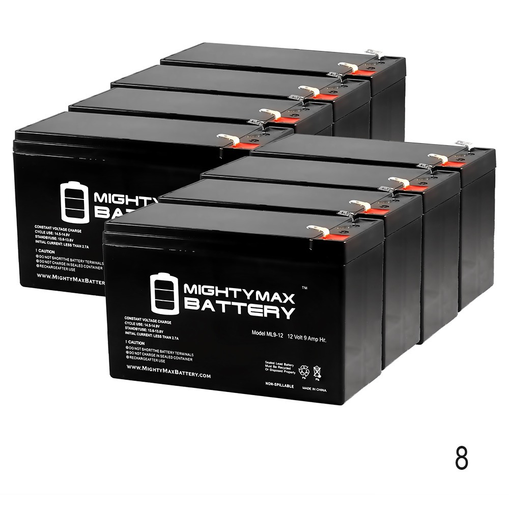 12V 9Ah Battery Replacement for Shaoxing Huitong 6-DW-12 - 8 Pack