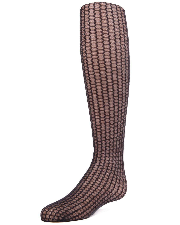 MeMoi Honeycomb Tights | Explore Sheer Tights for Girls by MeMoi 14-Dec / Black MK 800