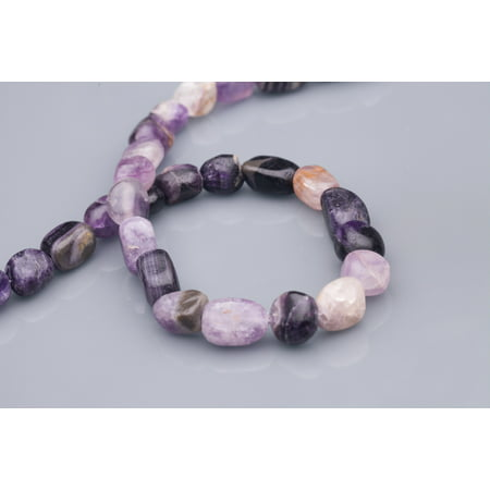 Tumbled Pebble Rustic Amethyst Beads Semi Precious Gemstones Size: 14x10mm Crystal Energy Stone Healing Power for Jewelry Making](Crystal Bead)