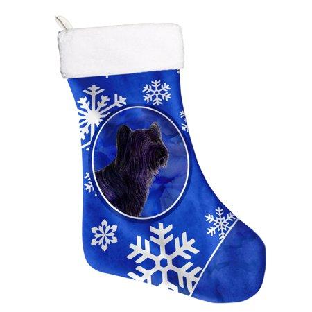 Big Sky Stocking (Skye Terrier Winter Snowflakes Christmas Stocking SS4601 )