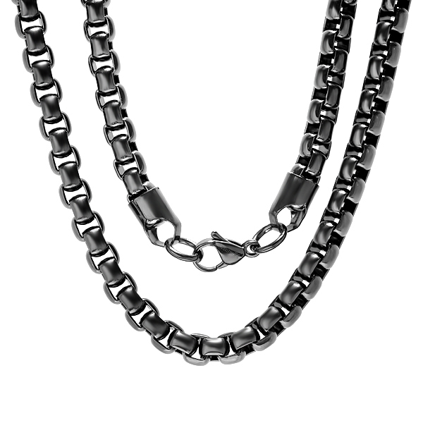 "24"" Black Stainless Steel Rolo Link Necklace"