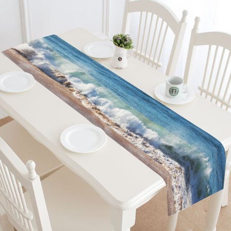 MYPOP Sandy Beach Table Runner Home Decor 14x72 Inch, Summer Ocean Sea Wave Table Cloth Runner for Wedding Party Banquet Decoration