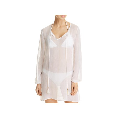Macbeth Collection by Margaret Josephs Womens Metallic Sheer Swim Top Cover-Up