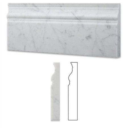 Italian White Carrara Marble - italian carrara white marble honed 5 x 12 baseboard - box of 5 pcs.