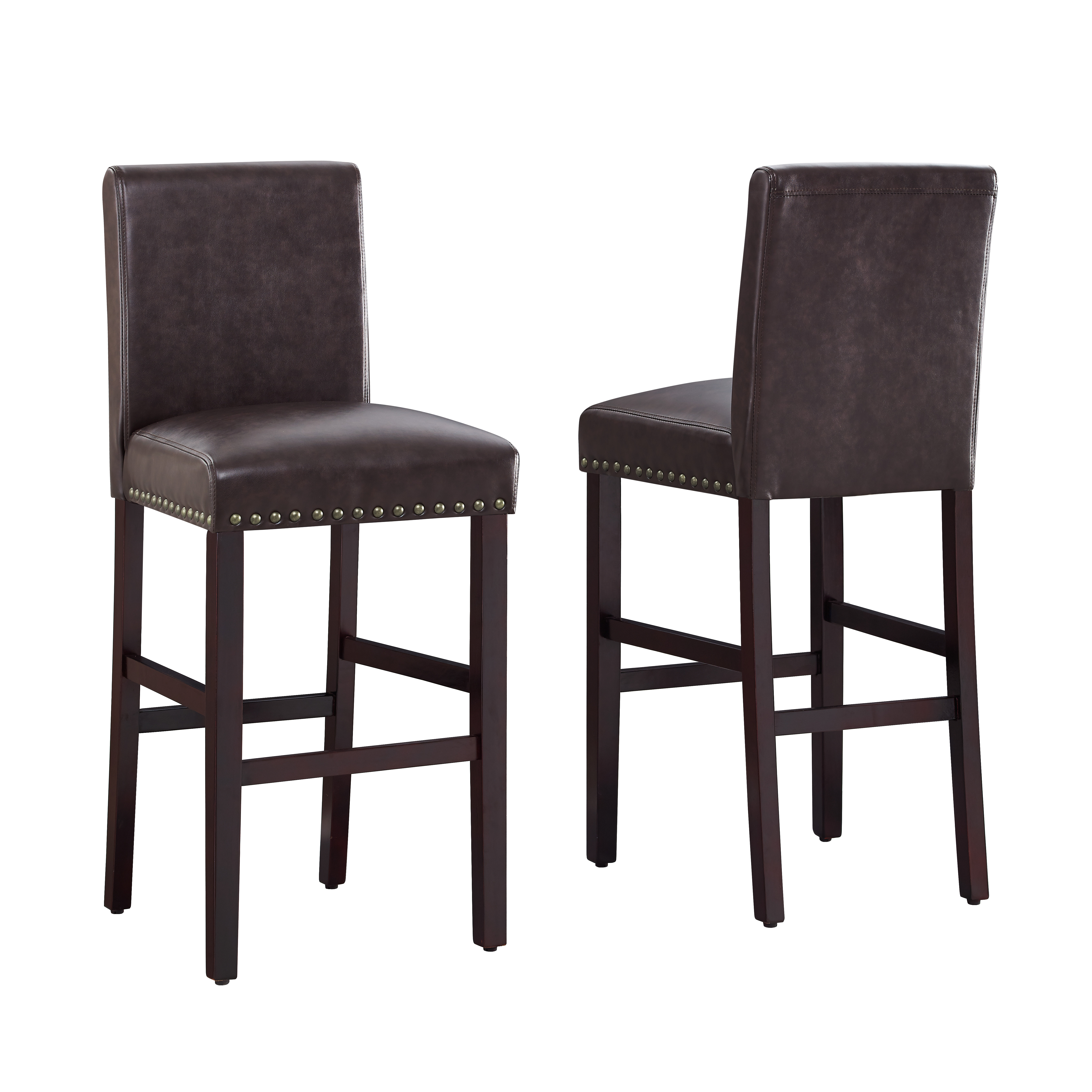Dhi Nice Nail Head Faux Leather Bar Stool (2 Pk), Multiple Colors by Dhi