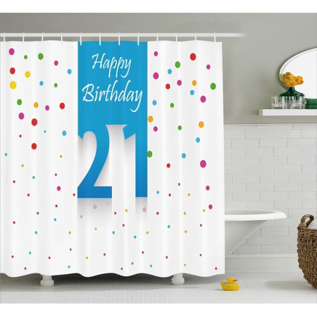 21st Birthday Decorations Shower Curtain, Party Festive Themed Happy Birthday Quote on Colorful Backdrop, Fabric Bathroom Set with Hooks, 69W X 70L Inches, Multicolor, by - 21st Birthday Theme