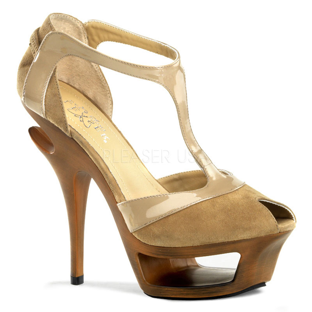 "*5 1/2"" Heel, 1 3/4"" Cut-Out PF - Blush Suede-Pat Leather, 4"