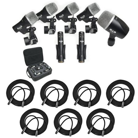 - CAD Audio Stage7 Premium 7-Piece Drum Instrument Mic Pack With Vinyl Carrying Case & 7 - 25' XLR Cables