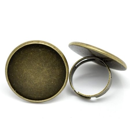 Antiqued Brass/gold Plated 24mm Bezel Cup Ring Settings Adjustable Us 6 75 or Larger Sold Per (Bezel Ring Settings)